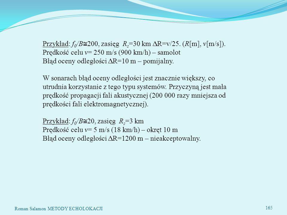 Przykład: f0/B200, zasięg Rz=30 km R=v/25. (R[m], v[m/s])